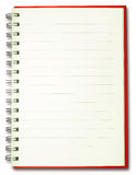 Blank plain line spiral red cover notebook isolate Royalty Free Stock Image