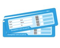 Blank plane tickets. For business trip travel or vacation journey  vector illustration Royalty Free Stock Photo