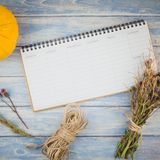 Blank planner mock up with autumn pumpkins. Square Top view of autumn orange pumpkins and dry flowers with grass thanksgiving background over blue toned wooden royalty free stock photos