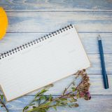 Blank planner mock up with autumn pumpkins. Square Top view of autumn orange pumpkins and dry flowers with grass thanksgiving background over blue toned wooden royalty free stock photography