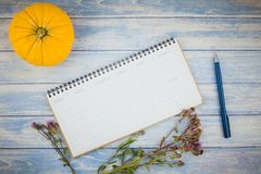 Blank planner mock up with autumn pumpkins. Top view of autumn orange pumpkins and dry flowers with grass thanksgiving background over blue toned wooden table stock photography