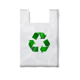 Blank plastic bag with green recycling sign. Blank white plastic bag with green recycling sign,  on white for your design and branding. Vector illustration Stock Photos