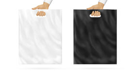 Blank plastic bag mock up set holding in hand Stock Photography