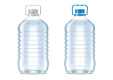 Blank plastic bottles. Detailed vector illustration. Bottles of 5 liter. lid color changes in one click royalty free illustration