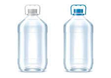 Blank plastic bottles. Detailed vector illustration. Bottles of 5 liter. lid color changes in one click in vector file stock illustration