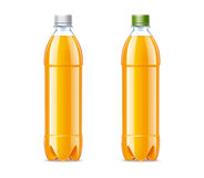 Blank plastic bottles 0,5L with orange juice Stock Photo