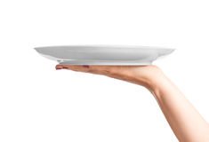 Blank plate on hand. Blank white plate on female hand Stock Image