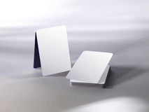 Blank playing cards. In a stack and pyramid stock photography
