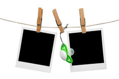 Blank polaroid baby photo frames. Hanging on line Royalty Free Stock Photo