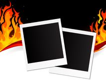 Blank polaroid frames. On fiery background Stock Photography