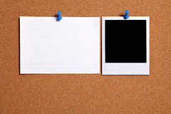 Blank polaroid photo frame, index card, cork notice board, copy space Royalty Free Stock Photography