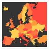 Blank political map of Europe continent in four shades of orange. Vector illustration Stock Images