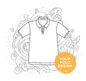 Blank polo design concept. Hand drawn style with Stock Image