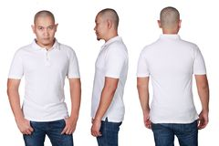 Asian male model wear plain white polo shirt mockup. Blank polo shirt mock up, front, side and back view, isolated on white. Asian male model wear plain white royalty free stock image