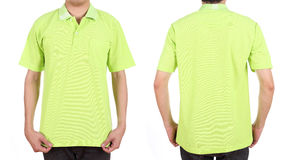 Blank polo shirt set (front, back) on man Stock Images