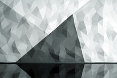 Blank polygonal wall. Front view of interior with black and white polygonal wall and shiny floor. Mock up, 3D Rendering Stock Photos