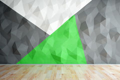 Blank polygonal wall in interior. Front view of interior with black, green and white polygonal wall and wooden floor. Mock up, 3D Rendering Royalty Free Stock Images