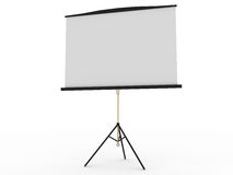 Blank portable projector screen. Isolated on white Stock Photos