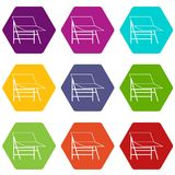 Blank portable screen icon set color hexahedron Stock Images