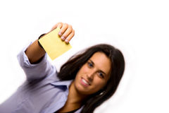 Blank post-it. Business girl with a blank post-it Stock Photography