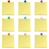Blank Post It with Colorful Pins Collection Royalty Free Stock Photo