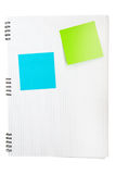 Blank post-its. Post-its on the lined note book background Stock Photography