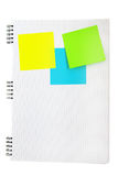 Blank post-its. Post-its on the lined note book background Stock Image