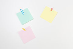 Blank Post-it Note Papers with Paper Clips Stock Photography