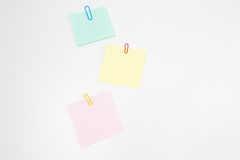 Blank Post-it Note Papers with Paper Clips Stock Photos
