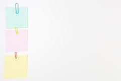 Blank Post-it Note Papers with Paper Clips Royalty Free Stock Photo