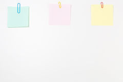 Blank Post-it Notes with Paper Clips Royalty Free Stock Photo