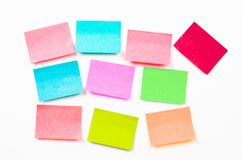 Blank post it notes or sticky note. Blank post it notes or sticky note on white wall stock photo
