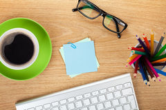 Blank post-it with office supplies and coffee cup Stock Photography