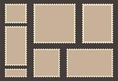 Blank post stamp set. Empty postage stamp. Vintage frames isolated on background royalty free illustration
