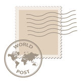 Blank post stamp with world map postmark Stock Photography