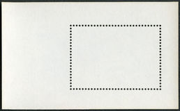 Blank postage stamp block souvenir sheet on a black background Stock Image