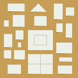 Blank Postage Stamp Set. Vector collection of white blank postage stamps with copy space Stock Image