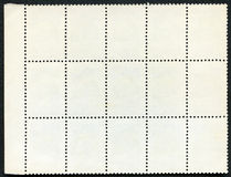 Blank postage stamps block of fifteen framed Royalty Free Stock Photos