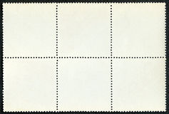 Blank postage stamps block of six framed Stock Photo