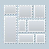 Blank postage stamps in different size. Vector template Royalty Free Stock Image