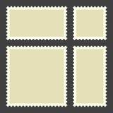 Blank postage stamps. Set on black background stock illustration