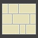 Blank postage stamps. Set on black background. vector illustration