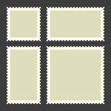 Blank Postage Stamps Set on Dark Background. Vector Royalty Free Stock Image