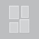Blank postage stamps templates with shadow on a gray background. Royalty Free Stock Images