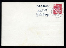 Blank postcard. With stamp and postage meter Royalty Free Stock Image