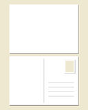 Blank postcard. Front and back Stock Photos