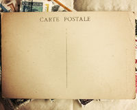 Blank Postcard. Back of a vintage blank postcard with some stamps royalty free stock photography