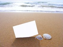 Blank postcard in the sand Royalty Free Stock Images