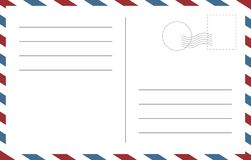 Blank postcard template. Backside of a postcart design vector blank template stock illustration