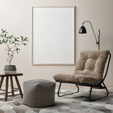 Blank poster, armchair in living room stock illustration